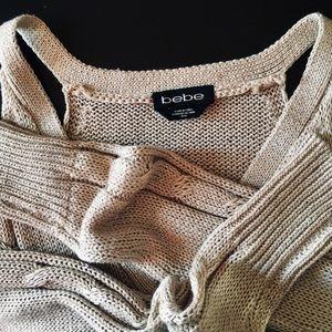 bebe Metallic Thread Rib Knit Sweater